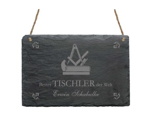 Schiefertafel « BESTER TISCHLER » Name Schild Geschenk Schreiner Tischlerei Deko