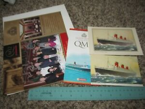 Vintage-Cunard-Lines-Cruise-Ship-Lot-Queen-Mary-QM2-Abstract-Log-Brochure