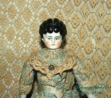 ANTIQUE SIGNED GERMAN CHINA HEAD ARMS AND LEGS ORIGINAL DRESS DOLL