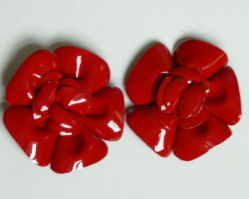 Bridal Wedding Prom Leather Red Flower Shoe Clips Ladies Dress Formal Wear
