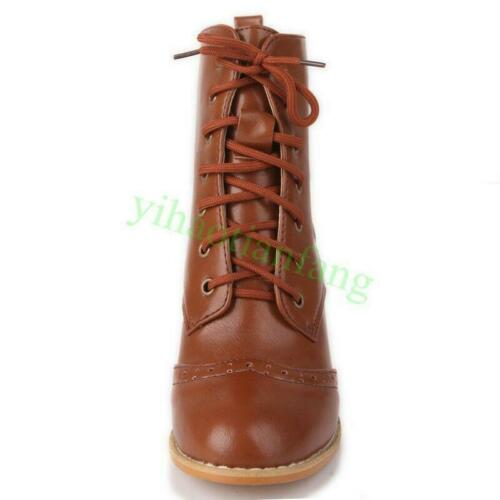 Womens Lolita Ankle Boots Round Toe Lace Up Chunky Mid Heels Brogues Shoes 4-13
