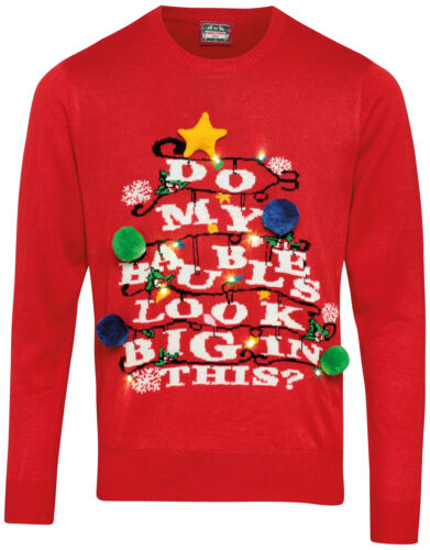 """Adultes 3D /""""faire mes boules Look Big In This?/"""" Light Up Drôle Noël Pull"""