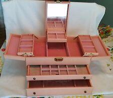 Vintage ladies pink jewelry box 2 tier drawers