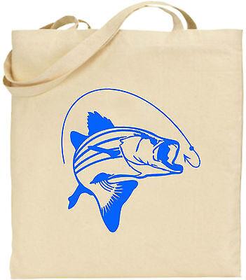 Karpfen Hooked Groß Baumwolltasche Einkaufstasche Leinen Lustig Fishing