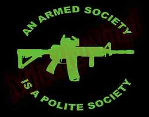 PICK-COLOR-SIZE-Armed-Society-Polite-Society-Vinyl-Decal-Window-Sticker