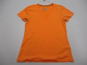 NIKE-Shirt-Women-039-s-Size-M-Athletic-DRI-FIT-Running-Short-Sleeve-Orange-V-Neck