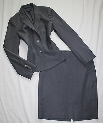 ANN TAYLOR Size 10 Women's Skirt Suit Gray w/ Stripes PERFECT!
