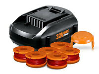 WORX 32V Lithium Battery + 6pk Spools + Cap Cover Tune Up Kit - Manufacturer Refurbished