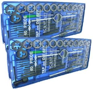 TAP AND DIE Set 80 piece SAE & METRIC w/Case Screw Extractor Remover Chasing NEW