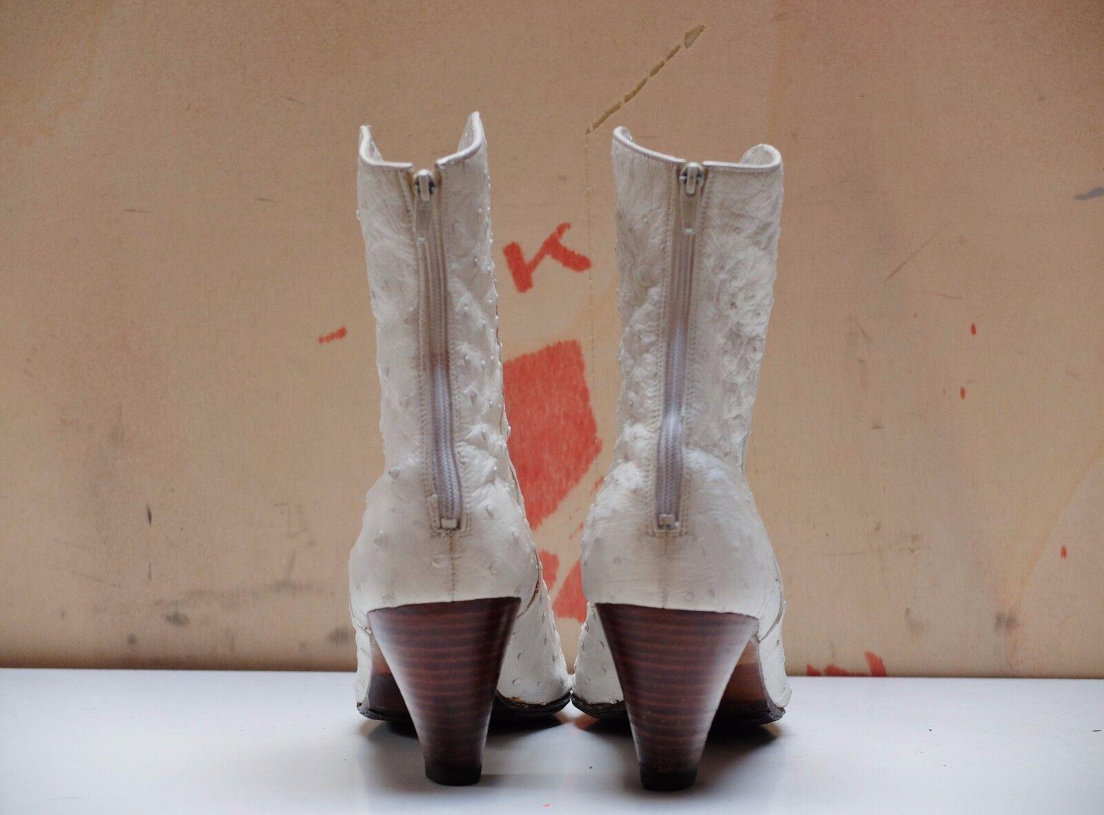 True Vintage K+S studio STRAUßENLEDER Weiß 90er Stiefeletten Damenschuhe Damenschuhe Stiefeletten Stiefel c2ef8e
