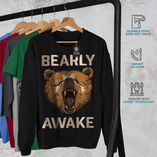 Wellcoda Bearly Grizzly Awake Mens Sweatshirt Coffee Casual Pullover Jumper