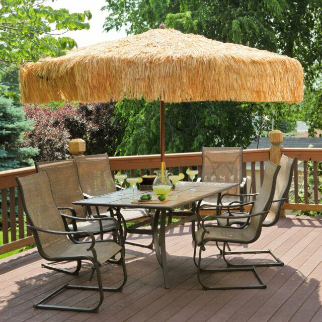 EasyGo   8u0027 Thatch Patio Tiki Umbrella U2013 Tropical Palapa Raffia Hut Hawaiian..  For Sale Online   EBay