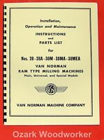 Van Norman 28, 28a, 38m, 38ma, 38mea Milling Machine Operator & Part Manual 0733