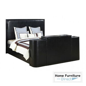 Image Is Loading Miles Black Queen Bed With Tv Lift Local