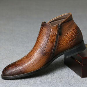 Men-039-s-Crocodile-Embossed-Pointed-Toe-Ankle-Boots-Zipper-Formal-Shoes-Plus-Size