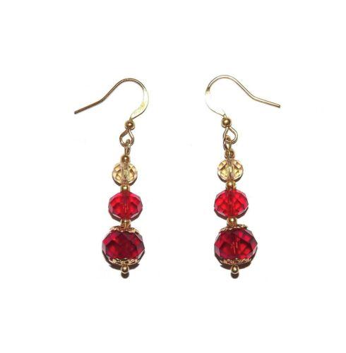 Boucles D/'Oreilles Neuves Dorées. Perles en Verre Cristal Rouges
