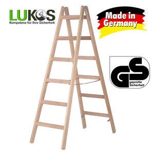 LUKOS Holz Stehleiter 2x6 Holzleiter Bockleiter Malerleiter Klappleiter GS gepr - Deutschland - Rücknahmen akzeptiert - Deutschland