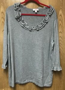 Details about Quacker Factory Gray Silver Sequined Sweater 1X 16 18