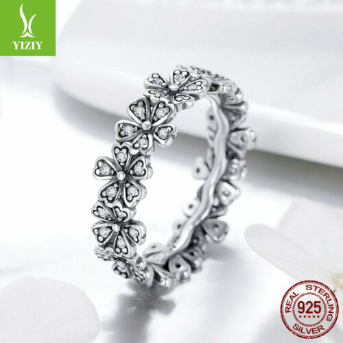 Fashion Femmes 925 Argent Sterling Pur Daisy Finger Ring Shining Cristal Bijoux