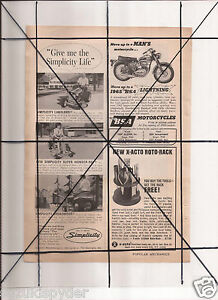 Vintage-1965-Popular-Mechanics-Magazine-Ad-A110-Simplicity-BSA-Lightning-2-2-GTO