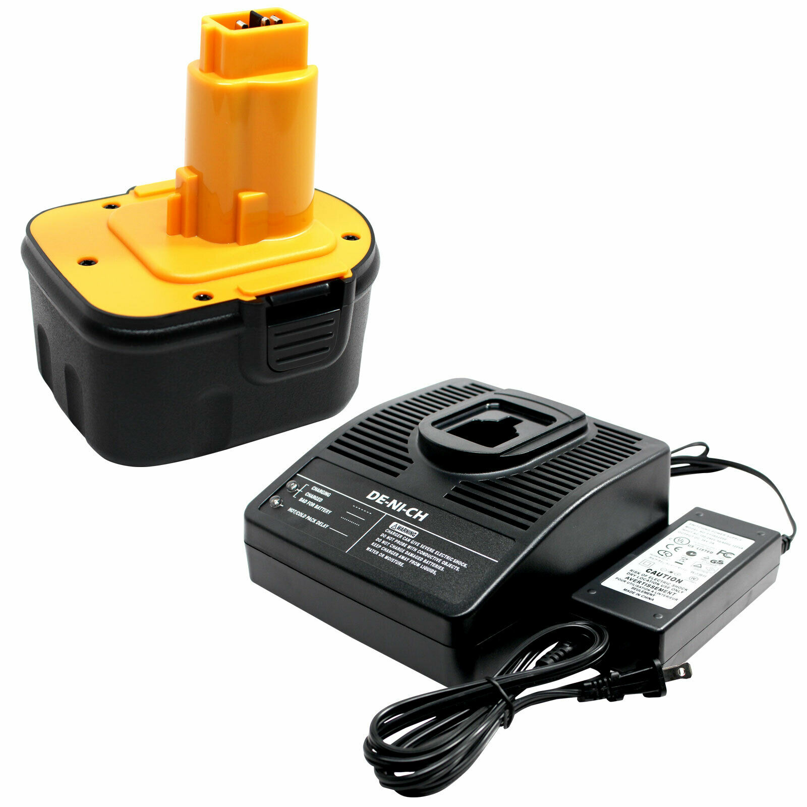 Battery +Universal Charger works with DeWalt DW9072, DW980 12V 1300mAh