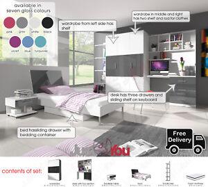 Details about MODERN BEDROOM FURNITURE SET WARDROBE DESK BOOKSHEL BED BOY  GIRL CHILD YOUTH