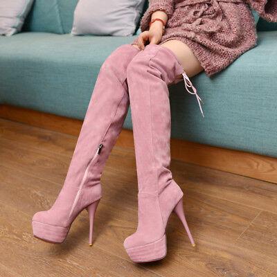 Platform high heels Gr.33-43 Elegant Nieten Stiefeletten Damenschuhe Ankle Boots