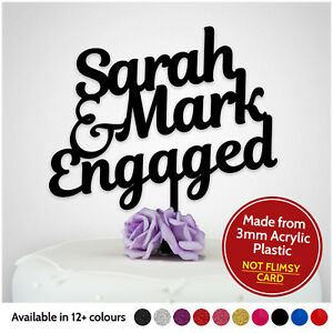 PERSONALISED-Engagement-Cake-Topper-Wedding-Engaged-Party-Decoration-ANY-NAMES