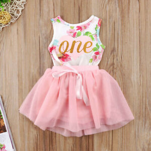 e710070f2 2PCS Baby Girls 1st Birthday Outfit Party Romper Skirt Cake Smash ...
