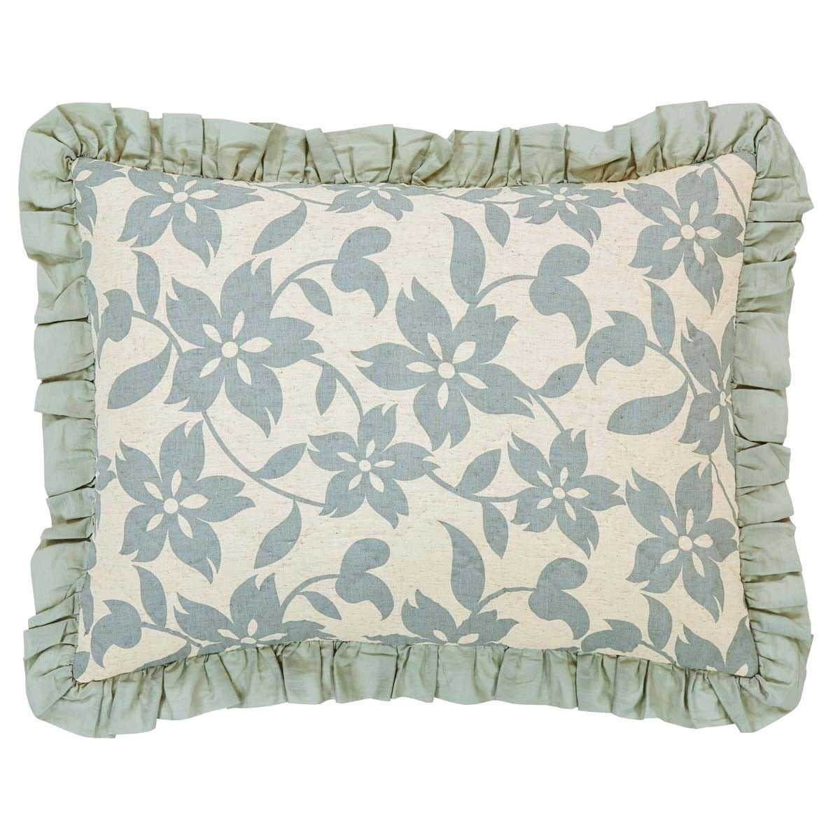 Briar Sage Green Floral Hand-Quilted Linen & Cotton Ruffled Standard Pillow Sham