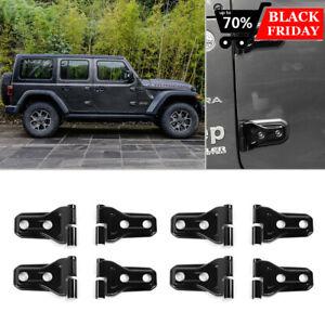 For 2018-2019 Jeep Wrangler JL 4-Door Black ABS Car Door Hinge Covers Trim 8 Pcs