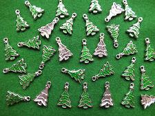 10 Albero di Natale Ciondoli Verde Smalto & tibetano argento Ciondolo Gioielli & Craft
