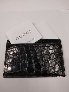 0c29c11776b Image is loading Gucci-Card-Holder-Crocodile-Leather-Black-Brand-New-