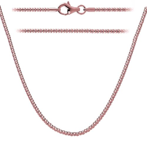 """.925 Sterling Silver Rose Gold Plated Chain 2mm w//Lobster Clasp In 14-36/"""""""
