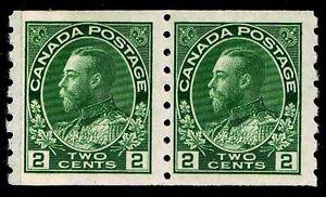 CANADA #128 .02c REGULAR COIL PAIR OF 1922 - OGXLH - VF - CV $32.00 (ESP#9650)