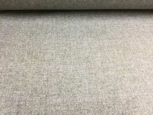 Mid Grey//Subtle LilaC Over Check Pure Wool Fabric.UK Woven,Upholstery//Curtains