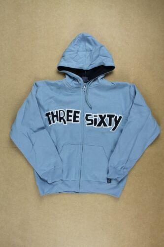 Three Sixty Text Full Zip Hoodie hoody Sky Blue New Youths boys Streetwear Skate