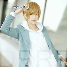 Headless Kida Masaomi Short Straight Blonde Synthetic Hair Anime Cosplay Wig