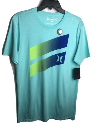 Hurley Mens Crew Neck T-Shirt Light Blue Graphic Cotton Polyester NEW