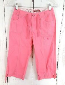 Girls-Unionbay-10-Pink-Cargo-Pants-Capri-Woven-100-Cotton-Cropped-Drawstring