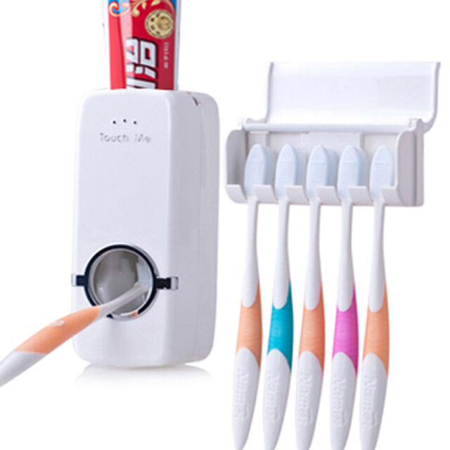 Automatic Lazy Toothpaste Dispenser + 5 Toothbrush Holder Set Wall Mounted Stand