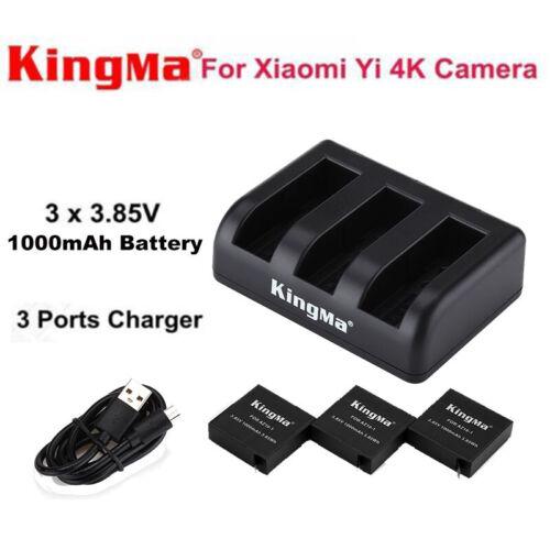 3x 3.85V 1000mAh High Capacity Battery+1V3 Charger fr Xiaomi YI 4K Action Camera