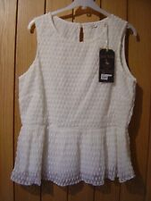 Jack Wills Larvin Mesh Peplum Ivory LINED Top Size 14 NEW (tags)RRP £39.50(Ref Z