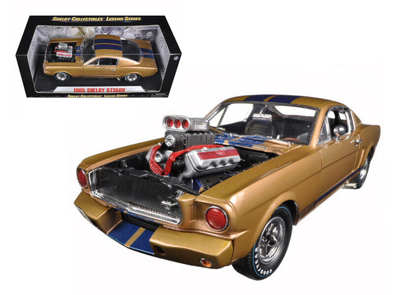 1965 1965 1965 Ford Shelby Mustang GT 350R gold bluee 1 18 Diecast Car Model by Shelby Coll a6ccfe