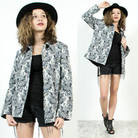WOMENS VINTAGE 80'S 90'S BLUR FLORAL CHINA STYLE OVERSIZE TAPESTRY JACKET 14 16