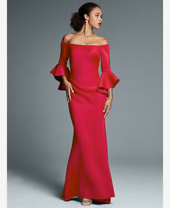 New-BETSY-amp-ADAM-Size-8-Off-Shoulder-Bell-Sleeve-Red-Scuba-Formal-Gown-Dress