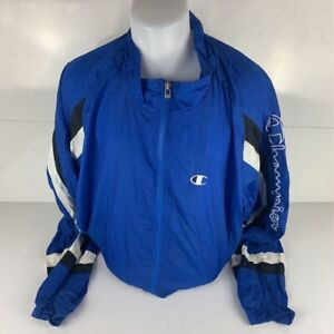 Champion-Mens-Windbreaker-Jacket-Blue-Mesh-Full-Zip-Spellout-100-Nylon-XXL