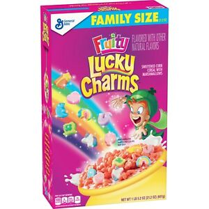 a8a8e331264 NEW GENERAL MILLS FAMILY SIZE FRUITY LUCKY CHARMS CEREAL 21.2 OZ BOX ...