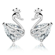 2017 new products Fashion jewelry 925 silver swan Earrings fine Female gift