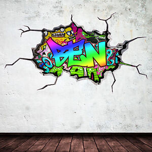 full colour personalised 3d graffiti name cracked wall art stickers